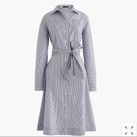 J. Crew Dresses & Skirts - J Crew Blue White Striped Tie Waist Shirt Dress, 6
